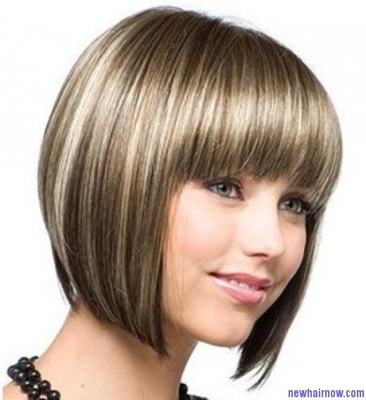 Стрижка с челкой для круглого лица с тонкими волосами