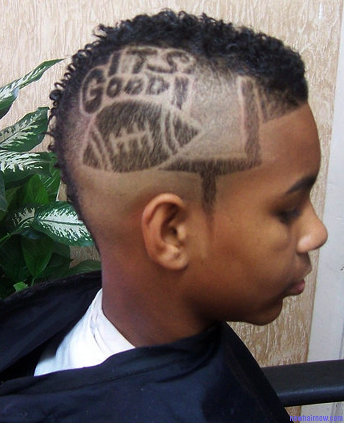 Punk Short Mohawk Hairstyles with Hair Tattoos for Men